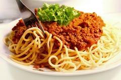 Salsa della carne e degli spaghetti Immagini Stock Libere da Diritti
