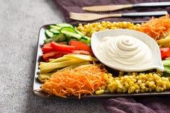 Salsa della maionese ed insieme casalinghi delle verdure variopinte Fuoco selettivo Fotografia Stock