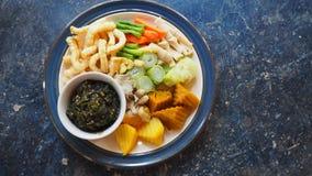Salsa di peperoncino rosso, alimento tailandese locale in nordico della Tailandia Fotografia Stock Libera da Diritti