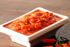 Salsa di peperoncino rosso casalinga Immagini Stock