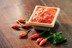 Salsa di peperoncino rosso casalinga Immagine Stock Libera da Diritti