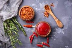Salsa di peperoncino rosso con i peperoni secchi Immagini Stock