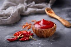 Salsa di peperoncino rosso con i peperoni secchi Immagine Stock