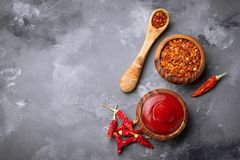 Salsa di peperoncino rosso con i peperoni secchi Fotografia Stock Libera da Diritti