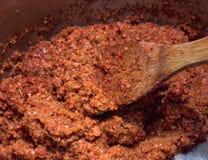 Salsa di peperoncino rosso fatta fresca. Fotografie Stock Libere da Diritti