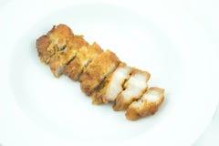 Salsa di pesce fritta carne di maiale striata Fotografia Stock