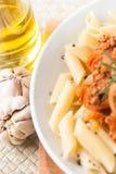 Salsa di pomodori bolognese della carne del penne della pasta fotografia stock