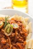 Salsa di pomodori bolognese della carne del penne della pasta immagini stock libere da diritti