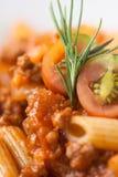 Salsa di pomodori bolognese della carne del penne della pasta immagini stock