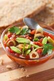 Salsa di pomodori con il porro verde Fotografia Stock Libera da Diritti