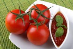 Salsa di pomodori italiana della pasta Immagini Stock