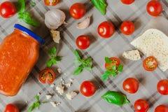 Salsa di Pomodoro al Formaggio di Pecora tomato sauce with the sheep cheese pecorino stock image