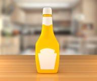 Salsa di senape sulla tavola Fotografia Stock Libera da Diritti
