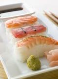 Salsa di soia di Wasabi dei sushi dei frutti di mare e Sus modellati mano Fotografia Stock Libera da Diritti