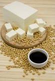 Salsa di soia e formaggio del tofu fotografie stock