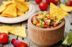 Salsa do pêssego Fotografia de Stock