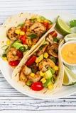 Salsa dos tacos do camarão Fotografia de Stock Royalty Free