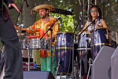 Salsa Drum Beat. BRISTOL, ENGLAND - AUGUST 1: Percussionists with the salsa band Salsanova performing at the Harbour Festival in Bristol, England on August 1 royalty free stock images