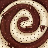 Salsa dulce del caramelo con el ejemplo tajado del chocolate para el diverso diseño stock de ilustración