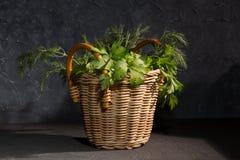 Salsa e aneto em uma cesta Imagens de Stock Royalty Free