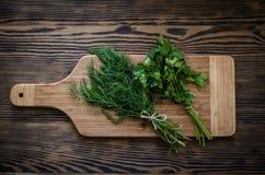 Salsa e aneto em uma placa de corte, fundo de madeira Foto de Stock Royalty Free