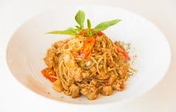 Salsa e carne di maiale di spaghetti Fotografia Stock Libera da Diritti