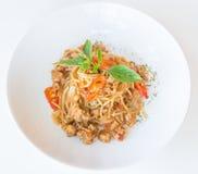 Salsa e carne di maiale di spaghetti Immagini Stock