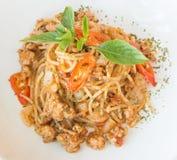 Salsa e carne di maiale di spaghetti Immagine Stock