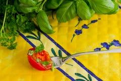 Salsa e manjericão frescas Imagem de Stock Royalty Free