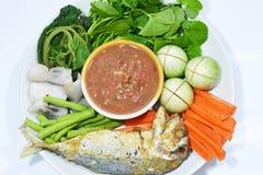 Salsa e verdura tailandesi della spezia Immagine Stock Libera da Diritti