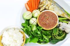 Salsa e verdura tailandesi della spezia Fotografia Stock