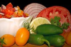Salsa en Ingrediënten stock foto's