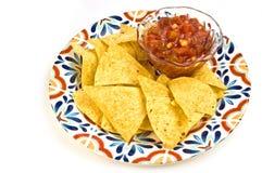Salsa et pommes chips Images libres de droits