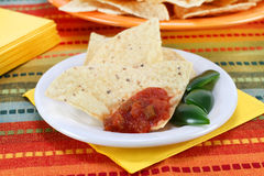 Salsa on Flour Tortillas Royalty Free Stock Photo