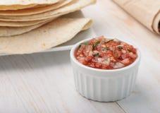 Salsa fresca flatbread i kumberland obrazy stock