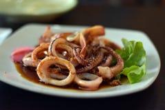 Salsa frita del calamar Foto de archivo libre de regalías