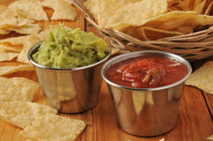 Salsa, guacamole and chips Stock Photo