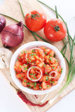 Salsa In A Bowl On A Wooden Board And Ingredients Stock Photo