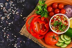 Salsa with ingredients on dark background. Top view.  stock photo