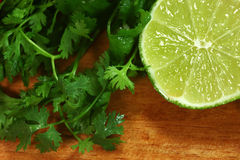 Salsa Ingredients of Lime and Cilantro Royalty Free Stock Images
