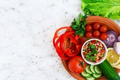 Salsa with ingredients on white background. Top view.  royalty free stock photo