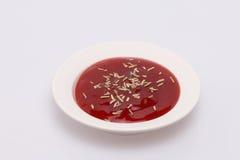Salsa ketchup e rosmarini asciutti. Fotografia Stock