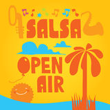 Salsa  lettering with silhouettes of palms Stock Images