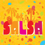 Salsa  lettering with silhouettes of palms Stock Photo
