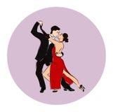 Salsa lub Argentine tanga tana pary kobieta w wektorze i mężczyzna Międzynarodowy tango dzień Fotografia Stock
