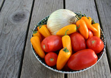 Salsa Makin's. Ingredients for salsa on rustic table Stock Image