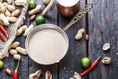 Salsa malasia del cacahuete para los pinchos satay del ayam o del pollo fotografía de archivo libre de regalías