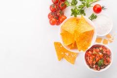 Salsa mexicain de tomate avec des puces de tortilla photographie stock libre de droits