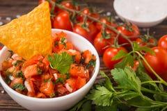 Salsa mexicain de tomate avec des puces de tortilla photo libre de droits