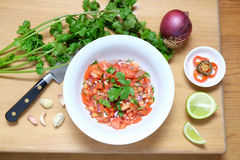 Salsa mexicana caseiro do tomate de Pico de Gallo Fotos de Stock Royalty Free